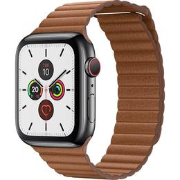 Apple Watch Series 5 Cellular 44mm Stainless Steel Case with Leather Loop