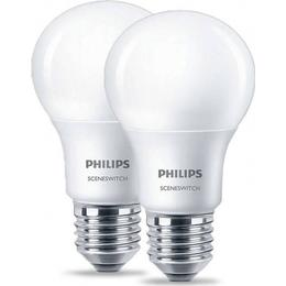 Philips Scene Switch LED Lamps 8W E27 2-Pack