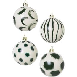 Ferm Living Christmas Hand Painted Glass 8cm 4-pack Christmas tree ornament Christmas decorations
