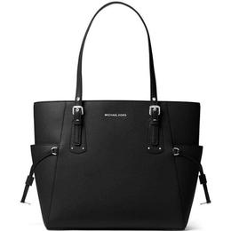 Michael Kors Voyager Small Crossgrain Leather Tote Bag - Black