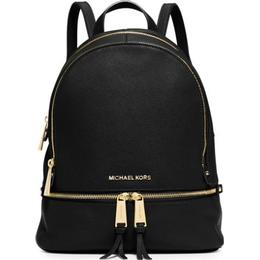 Michael Kors Rhea Medium Leather Backpack - Black