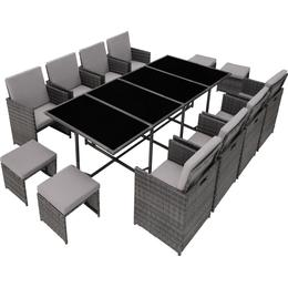tectake Palma 8+4+1 with Protective Cover Dining Group, 1 Table inkcl. 8 Chairs