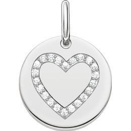 Thomas Sabo Love Bridge Heart Disc Pendant - Silver/White