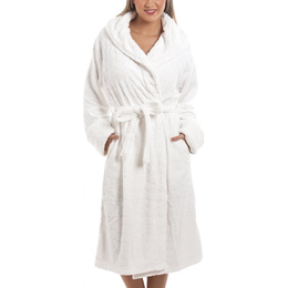 Camille Supersoft Fleece Heart Print Robe - White