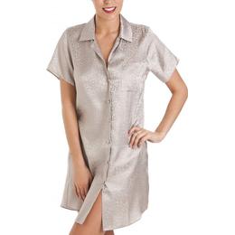 Camille Luxurious Knee Length Satin Nightshirt - Grey