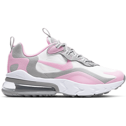 Nike Air Max 270 React GS - White/Light Solar Flare Heather/Metallic Silver/Pink