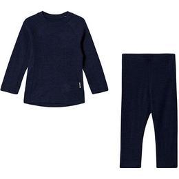 Reima Kinsei Kid's Wool Base Layer Set - Navy (536446-6980)