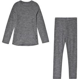 Reima Kinsei Kid's Wool Base Layer Set - Melange Grey (536446-9400)