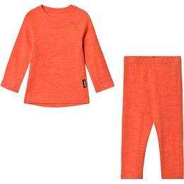 Reima Kinsei Kid's Wool Base Layer Set - Bright Salmon (536446-3220)