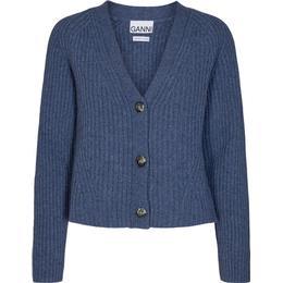 Ganni Rib Knit Cardigan - Dutch Blue