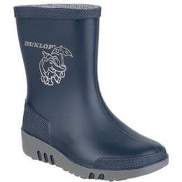 Dunlop Mini Elephant Wellington Boots - Blue/Grey