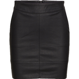 Only Leather Look Skirt - Black