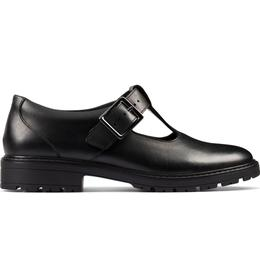 Clarks Youth Loxham Shine - Black Leather