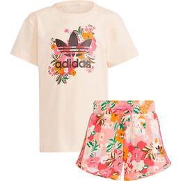 Adidas Girl's Her Studio London Floral Shorts & Tee Set - Cream White/Multicolor/Black (GN4212)