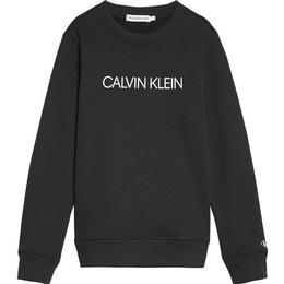 Calvin Klein Junior Institutional Crew Sweatshirt - Black Bae (iu0iu00162)