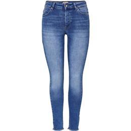 Only Blush Life Mid Ankle Skinny Fit Jeans - Blue/Medium Blue Denim
