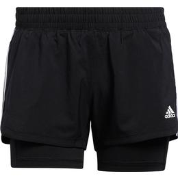Adidas Pacer 3-Stripes Woven Two-in-One Shorts Women - Black/White