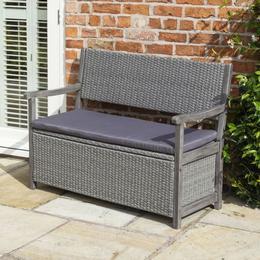Rowlinson Alderley Rattan Storage Garden Bench