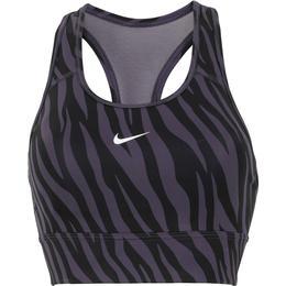 Nike Dri-Fit Swoosh Icon Clash 1-Piece Pad Longline Sports Bra - Dark Raisin/White