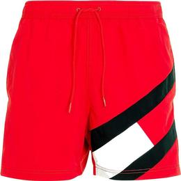 Tommy Hilfiger Colour Blocked Slim Fit Mid Length Swim Shorts - Primary Red