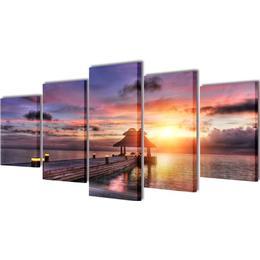 vidaXL Beach with Pavilion 200x100cm Wall Decor
