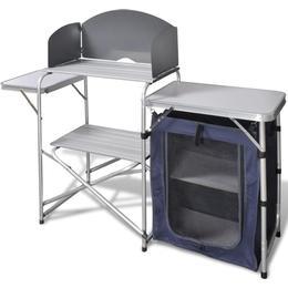 vidaXL Foldable Camping Kitchen Unit with Aluminum Windshield