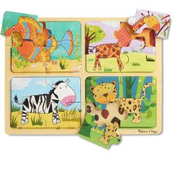 Melissa & Doug Natural Play Wooden Puzzle Animal Patterns 16 Pieces