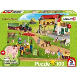 Schmidt Farmhouse with Shop Puzzle & 1 Schleich Figure 101 Pieces