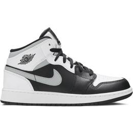 Nike Air Jordan 1 Mid GS - Black/White/Light Smoke Grey