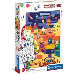 Clementoni Happy Color Double Face Robot 60 Pieces