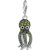 Charms & Pendants Thomas Sabo Charm Club Octopus Charm Pendant - Silver/Black/Green