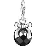 Charms & Pendants Thomas Sabo Charm Club Stone with Bow Charm Pendant - Silver/Black