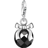 Charms & Pendants Thomas Sabo Charm Club Stone with Bow Charm Pendant - Silver/Black