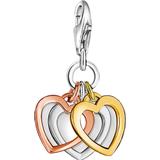 Thomas Sabo Charm Club Three Hearts Charm - Rose Gold/Gold/Silver