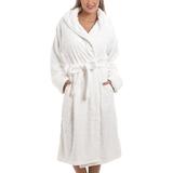 Night Garments Camille Supersoft Fleece Heart Print Robe - White