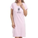 Nightgown Camille Owl Motif Cotton Nightdress - Light Pink