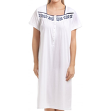 Camille Classic Knee Length Short Sleeve Nightdress - White