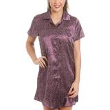 Camille Luxurious Knee Length Satin Nightshirt - Star Print Purple