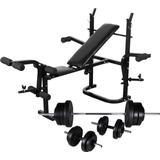 vidaXL Weight Bench Set with Weight Stand Barbell & Dumbbells 60.5kg