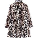 Ganni Printed Cotton Poplin Oversized Dress - Leopard