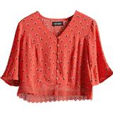 Women's Clothing Superdry Sunny Lace Top - Red Ditsy