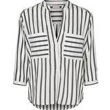 Women's Clothing Vero Moda Striped 3/4 Sleeved Shirt - White/Snow White