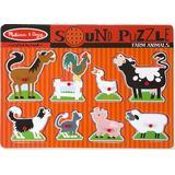 Knob Puzzles Melissa & Doug Farm Animals Sound Puzzle 8 Pieces