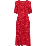 French Connection Fayola Drape Midi Tea Dress - Fiery Red Multi