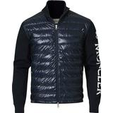 Down Jackets Men's Clothing Moncler Cardigan Down Logo Hybrid - Navy