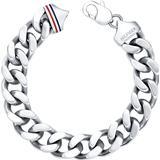 Tommy Hilfiger Chunky Filed Curb Bracelet - Silver