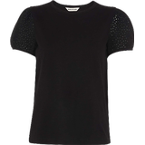 Women's Clothing Whistles Broderie Puff Sleeve T-shirt - Navy