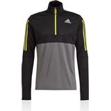 Adidas own the run jacket Sweaters & Hoodies Adidas Own The Run Running 1/2 Zip Sweatshirt Men - Grey Five/Black/Acid Yellow