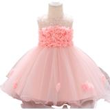 Children's Clothing Patpat Floral Mesh Princess Party Dress - Light Pink