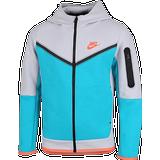 Nike tech fleece hoodie Children's Clothing Nike Boy's Sportswear Tech Fleece - Wolf Grey/Aquamarine/Turf Orange (CU9223-012)